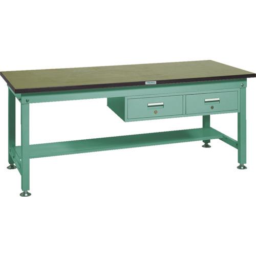 【RHW1800FL2:GN】TRUSCO RHW型作業台 1800X750XH740 2列引出付 緑(1台)