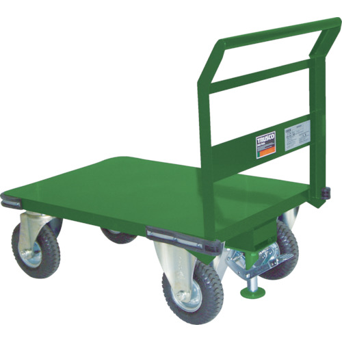 【SH1NARS】TRUSCO 鋼鉄製運搬車 プレス製空気入タイヤ・ストッパー付1200X750(1台)