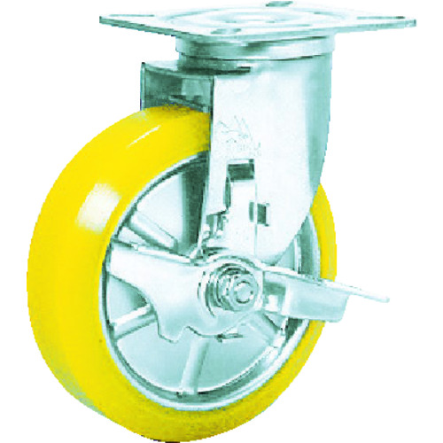【SUNJB125SEUW】シシク ステンレスキャスター 制電性ウレタン車輪自在ストッパー付(1個)