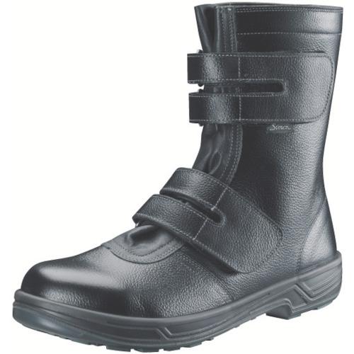 【SS3824.5】シモン 安全靴 長編上靴マジック式 SS38黒 24.5cm(1足)