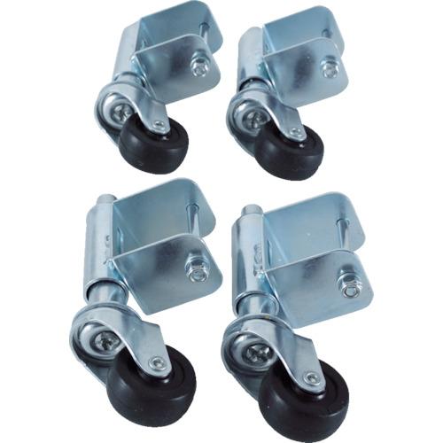 【TSC4A】TRUSCO 手すり3段4段アルミ作業用踏台スプリングキャスター 4個1セット(1S)