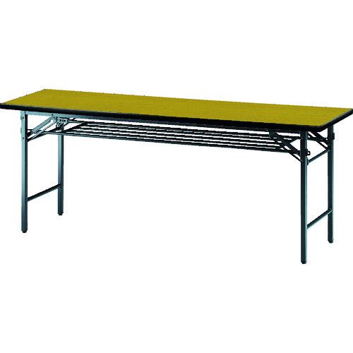 【TS1560:T】TRUSCO 会議用テーブル棚付折り畳み式1500×600×700チ チーク(1台)