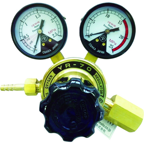 【YR70OXE】ヤマト 全真鍮製酸素調整器 YR-70(関東式)(1個)