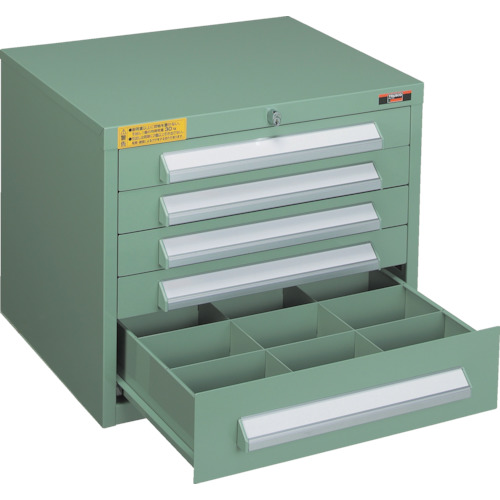 【WLVR423:GN】TRUSCO WLVR型キャビネット 500X412XH420 引出5段 緑(1台)
