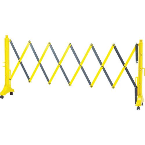 緑十字 伸縮式バリケード 黄/黒 高さ1m×幅0.5~3.5m 連結可能タイプ(株)日本緑十字社【116131】(1台入り)