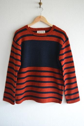 送料無料 セーター ニットウェア 完全送料無料 Bo's Glad Rags 倉庫 ~BLANK-TRUNK RED~ MARINER'S BORDER ボーズグラッドラグス