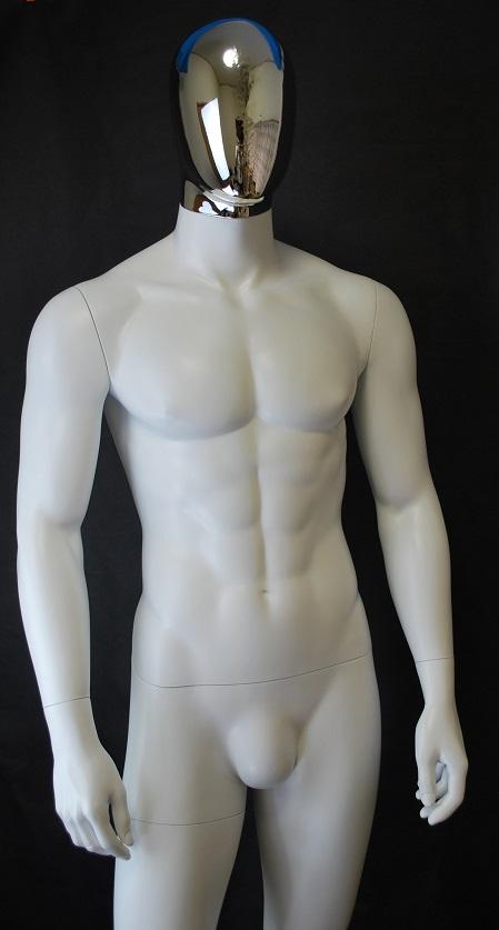 男性全身 マネキン リアルボディ 白つやけし シルバーヘッド 安価 高品質