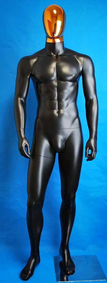 男性全身 マネキン リアルボディ 黒つやけし ゴールドヘッド 安価 高品質