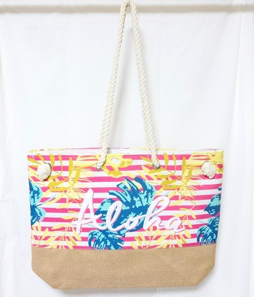 ハワイアン雑貨 日時指定 爆売りセール開催中 最安値を目指します ピンク ハワイアンネオアロトートバッグ
