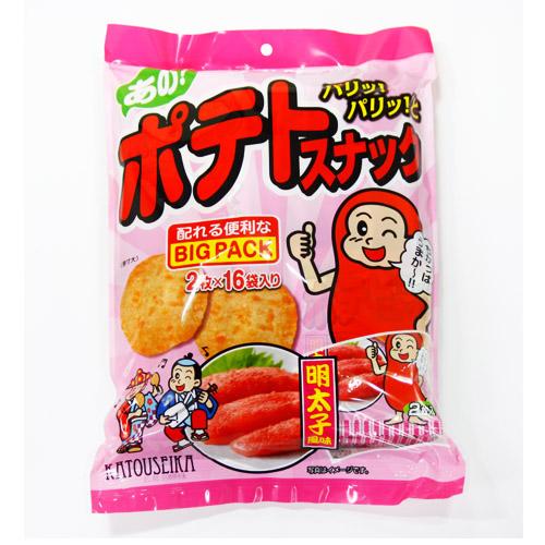かとう製菓 再再販 ポテトスナック明太子風味Bigpack 32枚 2枚×16袋 NEW