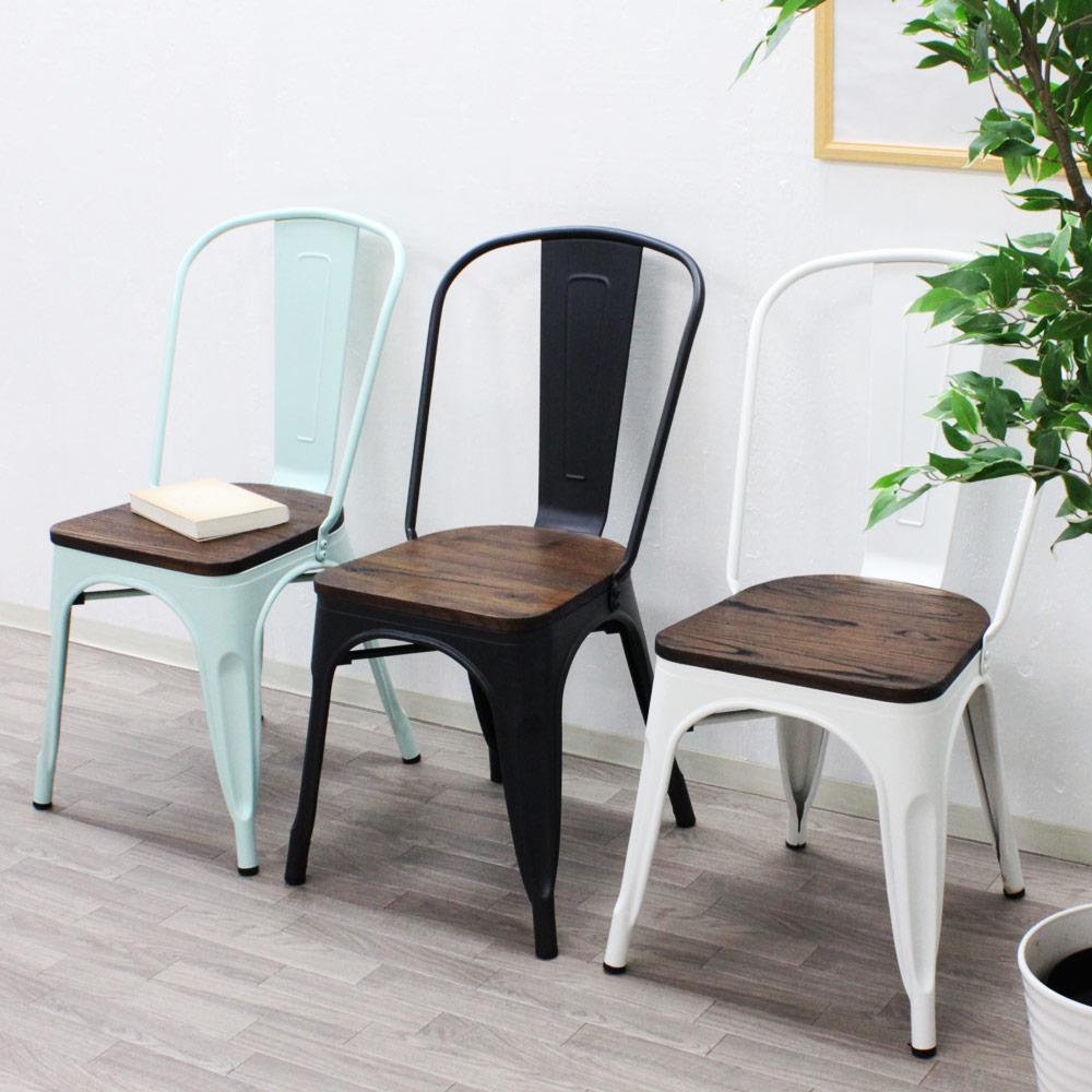 ヴィンテージ デザイン ダイニングチェア 天然木×スチール madoi(まどい) ホワイト ブラック ミストグリーン tsk | おしゃれ ダイニング 椅子 チェア 木製 チェアー イス リビング いす ダイニングチェアー インダストリアル 家具 ブルックリンスタイル ヴィンテージ家具