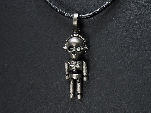 イーノス E-NO'S 手足が揺れるロボットスカルチョーカーネックレス K18ブラックコーティングゴールドダイヤモンド【中古】【ロイヤルブルー】【送料無料】