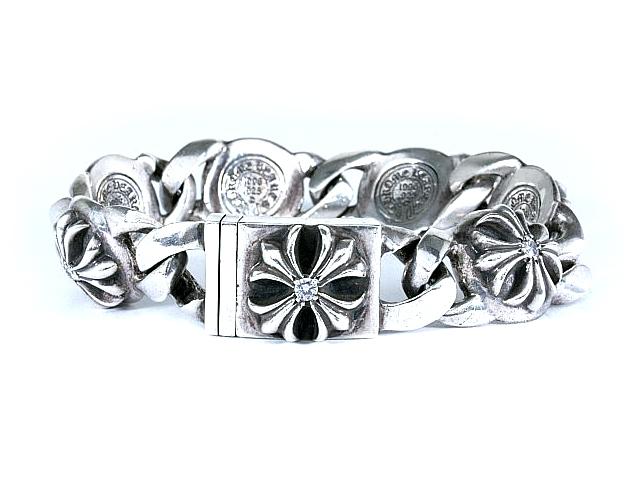 クロムハーツ CHROME HEARTS 極上7Pダイヤモンド クロスリンクブレスレット 7P DIAMOND CROSS LINK BRACELET【中古】【ロイヤルブルー】【送料無料】