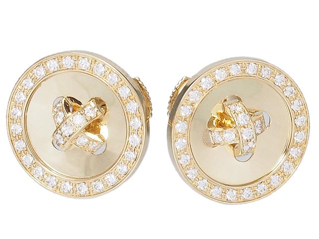 ヴァンクリーフ&アーペル Van Cleef & Arpels 美しいボタンのピアス ブトニエールピアス 750YGイエローゴールドダイヤモンドピアス【中古】【ロイヤルブルー】【送料無料】