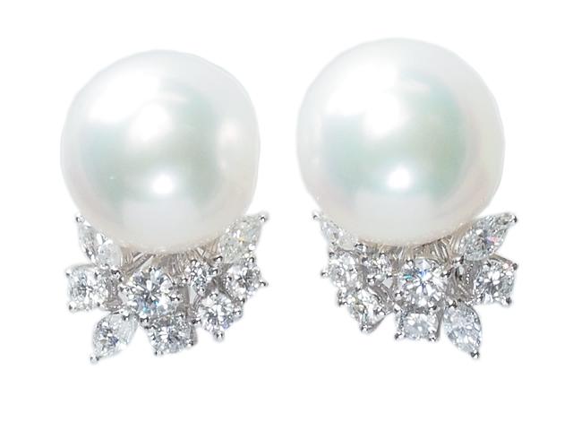 タサキ TASAKI 極上の美しさ パールイヤリング ダイヤイヤリング 南洋真珠 Pt900プラチナ 真珠ピアスにも加工可 イヤリングピアス【中古】【ロイヤルブルー】【送料無料】