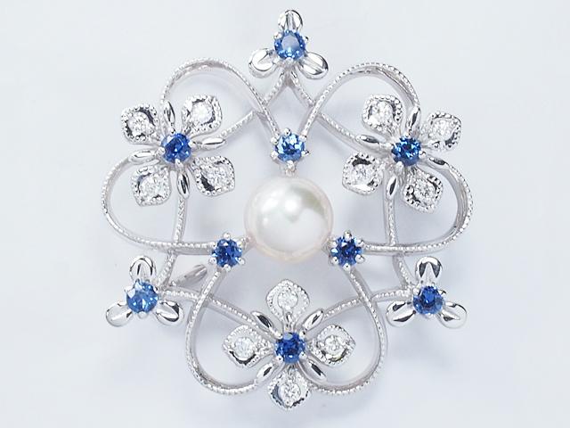 ミキモト MIKIMOTO 美しいブルーサファイア アコヤパールブローチ あこや真珠 K18WGホワイトゴールドダイヤモンド本真珠ブローチ【中古】【ロイヤルブルー】【送料無料】