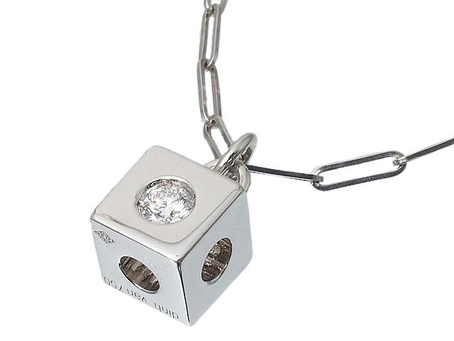 当店限定販売 ディンヴァン DINHVAN キューブネックレス ダイヤペンダントネックレス 新着 キューブペンダント ロイヤルブルー 中古 送料無料 K18WGホワイトゴールドダイヤモンド
