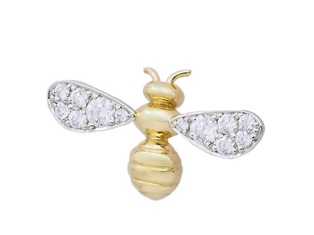 ギメル Gimel かわいいハチ BUMBLE BEE PINS ピンブローチ ピアスにも使用可能 男女兼用ピンズ Pt950/750YG ダイヤモンドブローチ ハチ 蜂【中古】【ロイヤルブルー】【送料無料】