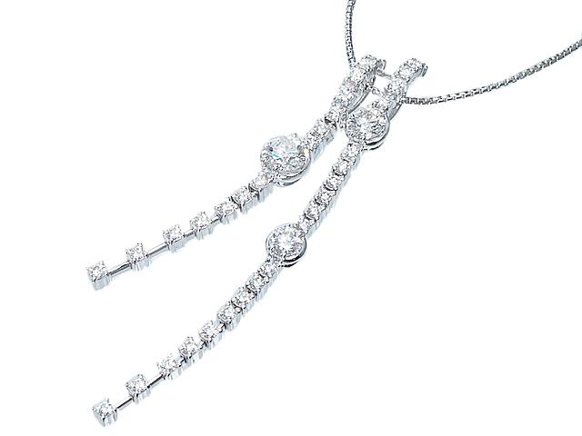 タサキ TASAKI 揺れるダイヤモンドペンダント トリロジーネックレス K18WGホワイトゴールドダイヤモンドネックレス【中古】【ロイヤルブルー】【送料無料】