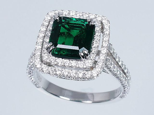 【大幅値下げ】美しい宝石 極上の無処理ノンオイルエメラルドリング ダイヤモンドリング Pt950 プラチナ エメラルドカット NOOIL Emerald 12号【ロイヤルブルー】【送料無料】