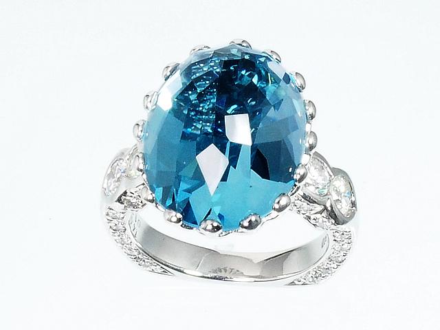 美しい 1年保証 セミプレシャスストーンリング ブルートパーズリング ダイヤモンドリング Pt900 プラチナ ジュエリー ダイヤリング 5☆好評 ロイヤルブルー 11号 送料無料 指輪