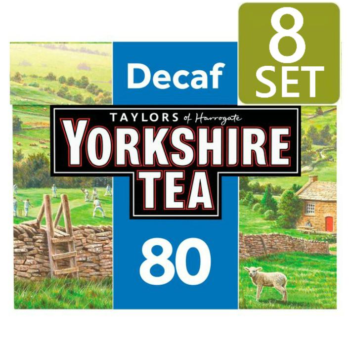 驚きの値段で 80袋入り 8箱セット TAYLORS of HARROGATE YORKSHIRE イギリス紅茶 英国直送 TEA デカフェ 代引き不可 Decaf ヨークシャーティー