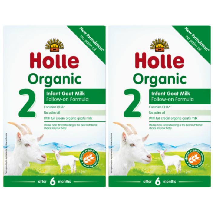 400g 日本正規品 2箱セット 6カ月から 品質検査済 ホレ オーガニック ヤギミルク Holle Organic Infant Milk リニューアル Formula 乳児用ゴート粉ミルク 2 Goat ステップ2 DHA含有