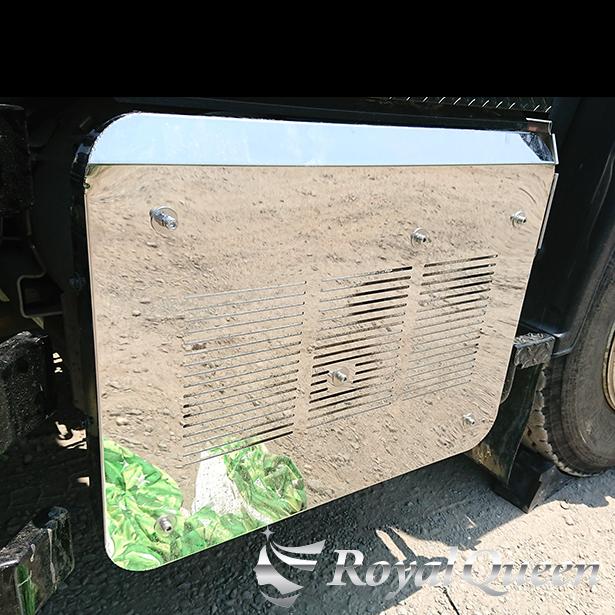 オリジナル商品 送料無料 いすゞ ファイブスターギガ MC後 マフラーカバー タイプ1 ステンレス 公式ショップ 鏡面 #1000 ISUZU RoyalQueen GIGAトラック デコトラ Quon パーツ トラック用品 訳あり品送料無料