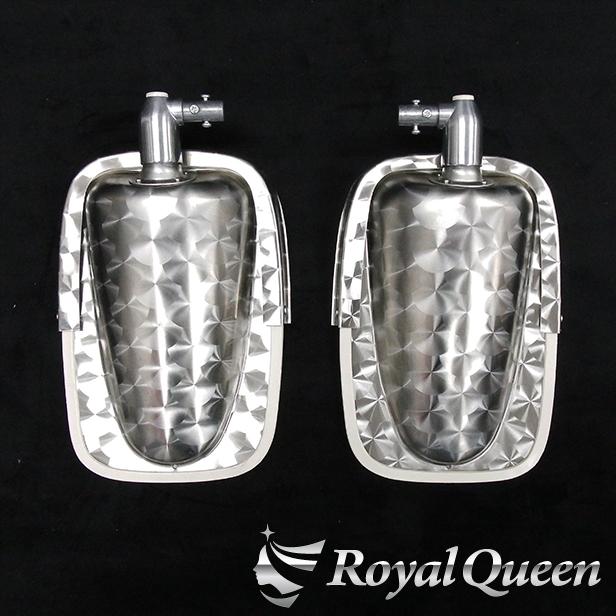 冬セール♪【送料無料】【Royal Queenオリジナル♪復刻版 ステンレス製 五光ミラー ウロコ柄(下) ハイウェイミラー 高速ミラー】トラック デコトラ パーツ トラック用品 Quon RoyalQueen