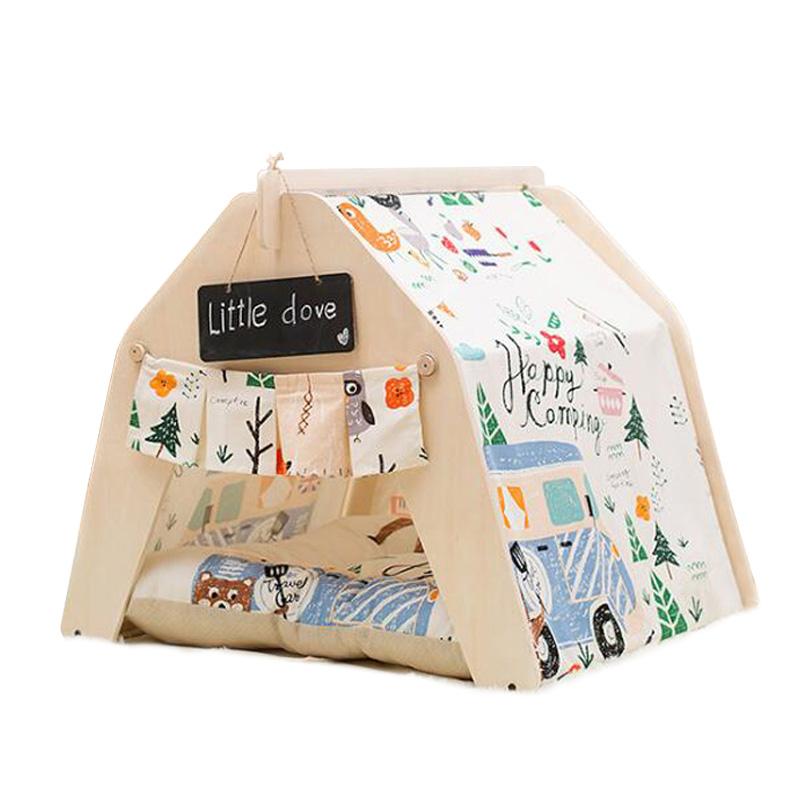 Mサイズ テント ペット ペットテント ティピーテント ペットハウスドッグハウス キャットハウス 犬 猫 小屋 簡易テント 室内 室内テント プレゼント 秘密基地 無地 ナチュラル