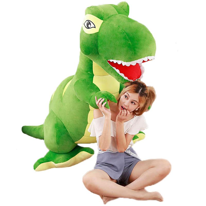 恐竜のぬいぐるみ リアル恐竜 おおあご キョウリュウ お誕生日プレゼント 大きい 手触りふわふわ 動物 抱き枕 彼女 ギフト 贈り物 女の子 店飾り グリーン おもちゃ 110cm