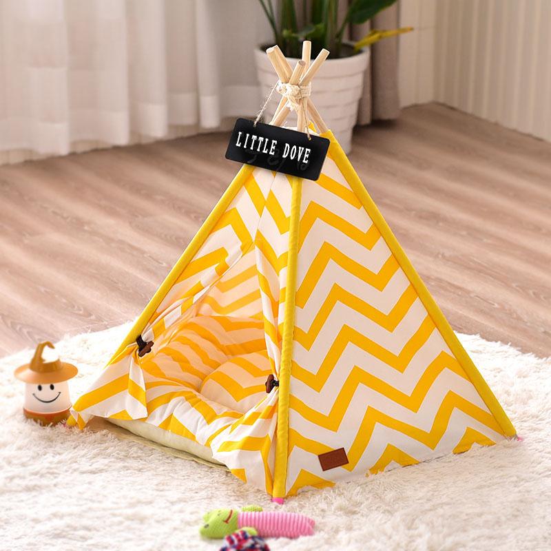 Lサイズ テント ペット ペットテント ハウス 小屋 ティピーテント ペットハウス キャットハウス 小屋 簡易テント 室内テント 秘密基地 四季通用 組み立て簡単