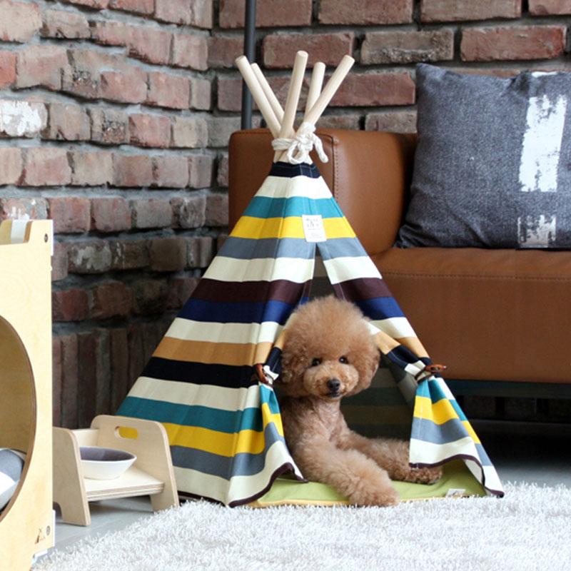 【年末限定・エントリーでポイント10倍】Lサイズ テント ペット ペットテント ティピーテント 動物 犬 猫 ペットハウス 小屋 簡易テント 室内テント おもちゃ プレゼント 秘密基地 無地 ナチュラル
