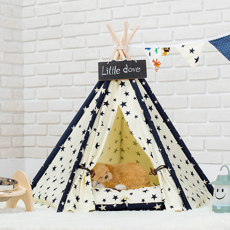 Lサイズ テント ペット ペットテント ティピーテント ペットハウスドッグハウス キャットハウス 犬 猫 ペットハウス 小屋 簡易テント 室内テント 秘密基地 無地 ナチュラル
