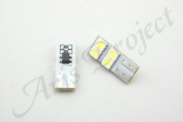 T10ウェッジ おすすめ 無極性 側面発光 お買い得 ホワイト3chipSMD4連球 白高輝度LEDルーム球スモールポジション球 2個
