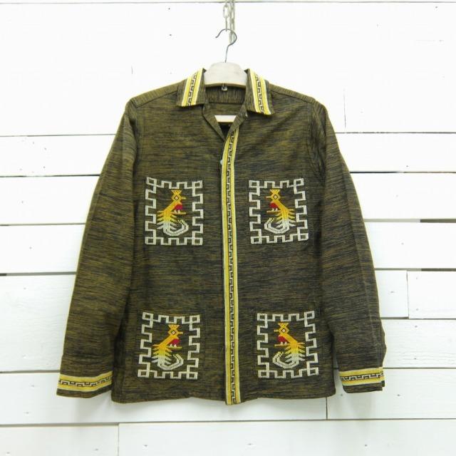 1970's ガテマラシャツ イエロー×ブラック グアテマラシャツ ビンテージ メンズ Sサイズ相当 / lsshirt393 / 【中古】