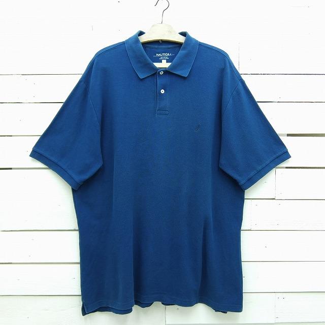 アウトレットセール 特集 NAUTICA ノーティカ ワンポイントロゴ ポロシャツ ブルー系 中古 2XLサイズ 訳あり商品 メンズ poloshirt35sa