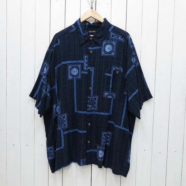 物品 puritan ピューリタン 総柄 レーヨン 半袖シャツ メンズ 年間定番 ssshirt116sy 中古 2XLサイズ