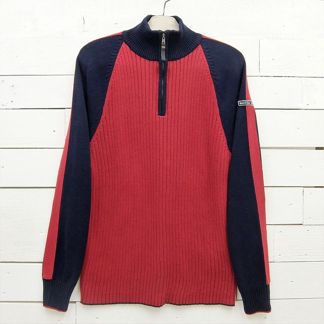 在庫処分 NAUTICA JEANS CO. ノーティカ ハーフジップ コットンニットセーター Mサイズ メンズ 至上 レッド系×ネイビー 中古 sweater41sa