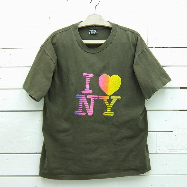 1980's OLD STUSSY オールド ステューシー I Love New York プリントTシャツ ビンテージ メンズ XLサイズ MADE IN USA / tshirt108sa / 【中古】