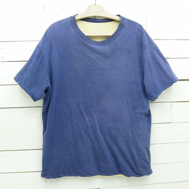 1980's unknown リバーシブルTシャツ ネイビー×イエロー ビンテージ メンズ XLサイズ相当 / tshirt657 / 【中古】