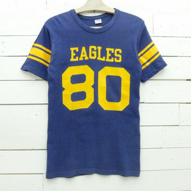 1970's Champion チャンピオン フットボールTシャツ EAGLES 80 ブルーバータグ ビンテージ メンズ Sサイズ相当 made in usa / tshirt663 / 【中古】