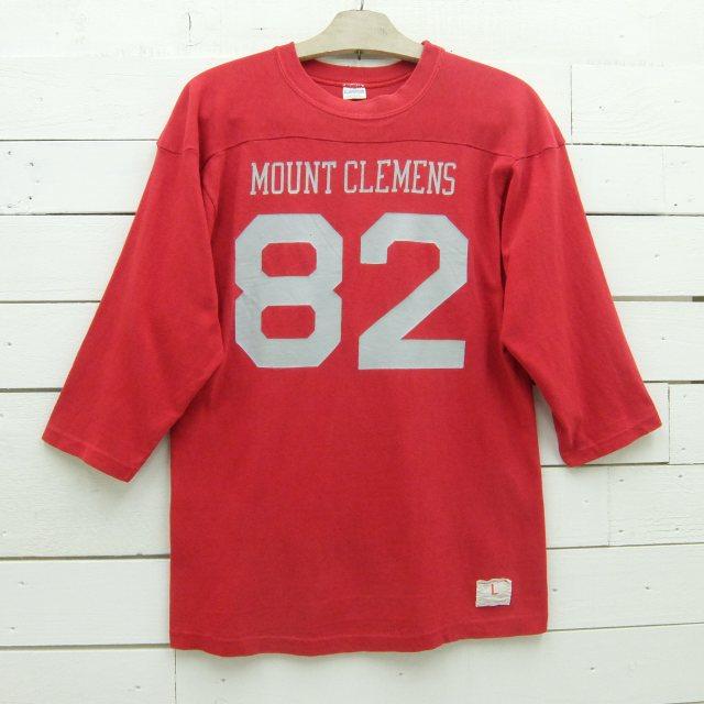 1970's Champion チャンピオン フットボールTシャツ MOUNT CLEMENS 82 ブルーバータグ ビンテージ メンズ Lサイズ made in usa / tshirt666 / 【中古】
