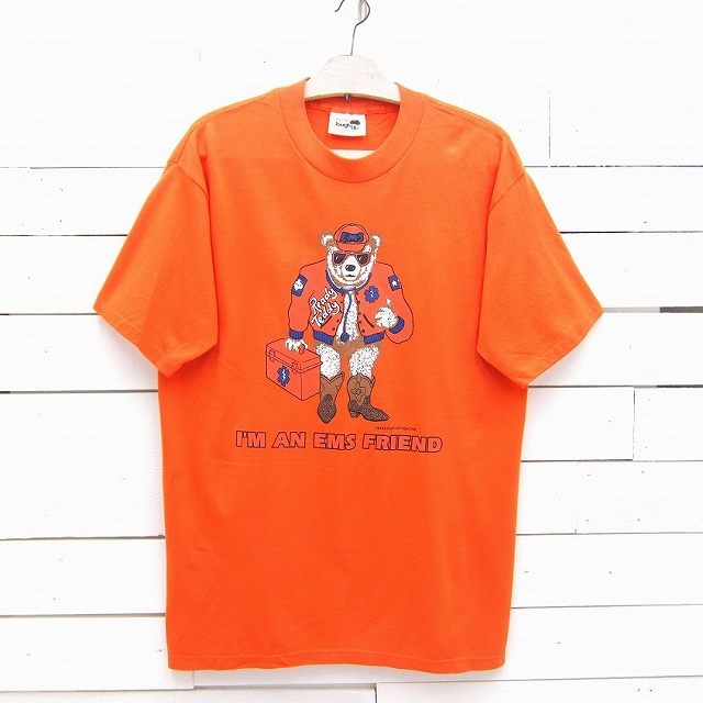 1990's WearGuard EMS Reddy Teddy TEXAS DEPT OF HEALTH テキサス USA メンズ 商舗 バースデー 記念日 ギフト 贈物 お勧め 通販 熊 中古 IN tshirt396sa Lサイズ プリントTシャツ MADE