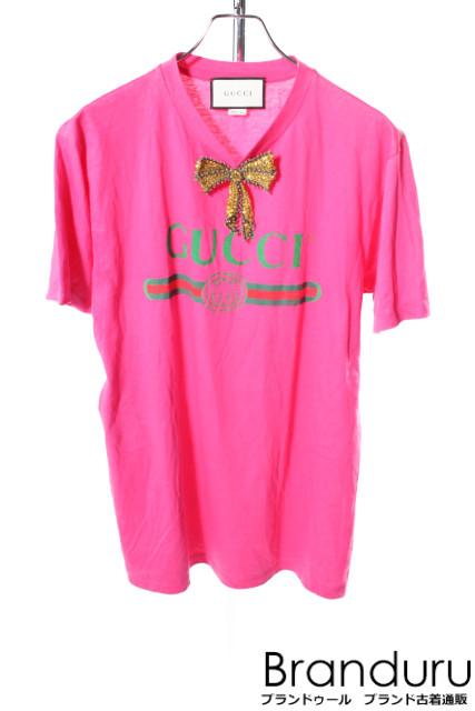 【入荷時より価格値下げ!】グッチGUCCI ロゴリボン装飾Tシャツ[MTSP25663]【SS】【中古】【5400円以上のご購入で送料無料】