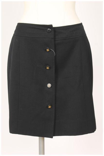 【新入荷!!】シャネルCHANEL 97P ココマークフロントボタンスカート[LSKO16999]【FF】【中古】【5400円以上のご購入で送料無料】