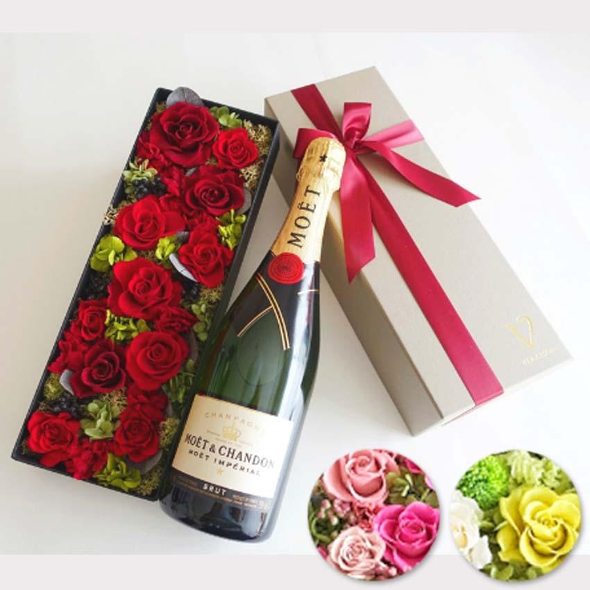【ワイン セット 花とワイン】モエ エ シャンドン アンペリアル 正規品 シャンパン プリザーブドフラワー 「ピンク・グリーン・レッドから選択」ギフト