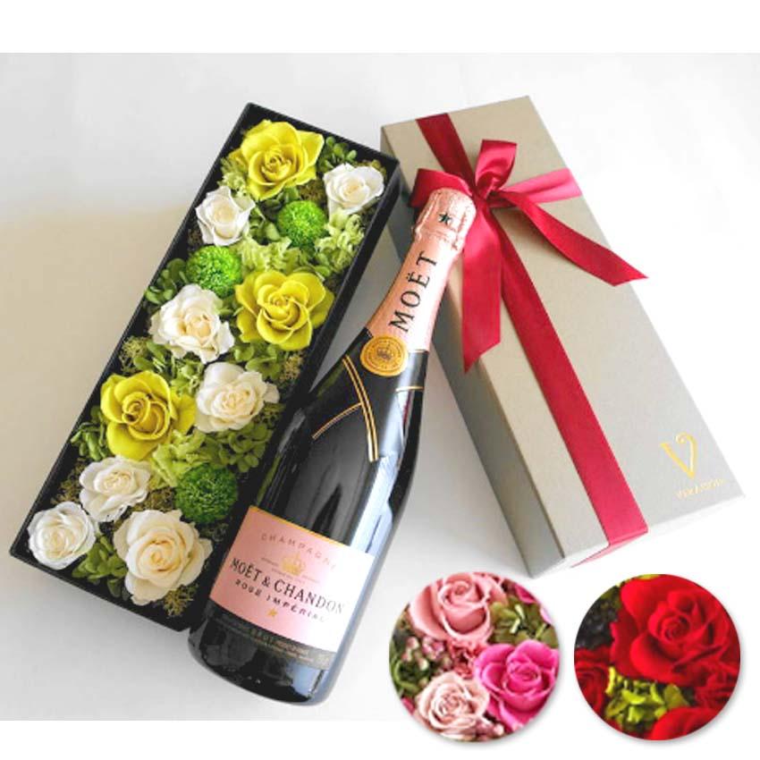 母の日【ワイン セット 花とワイン】モエ エ シャンドン ロゼ アンペリアル シャンパン 正規品 プリザーブドフラワー 「ピンク・グリーン・レッドから選択」ギフト