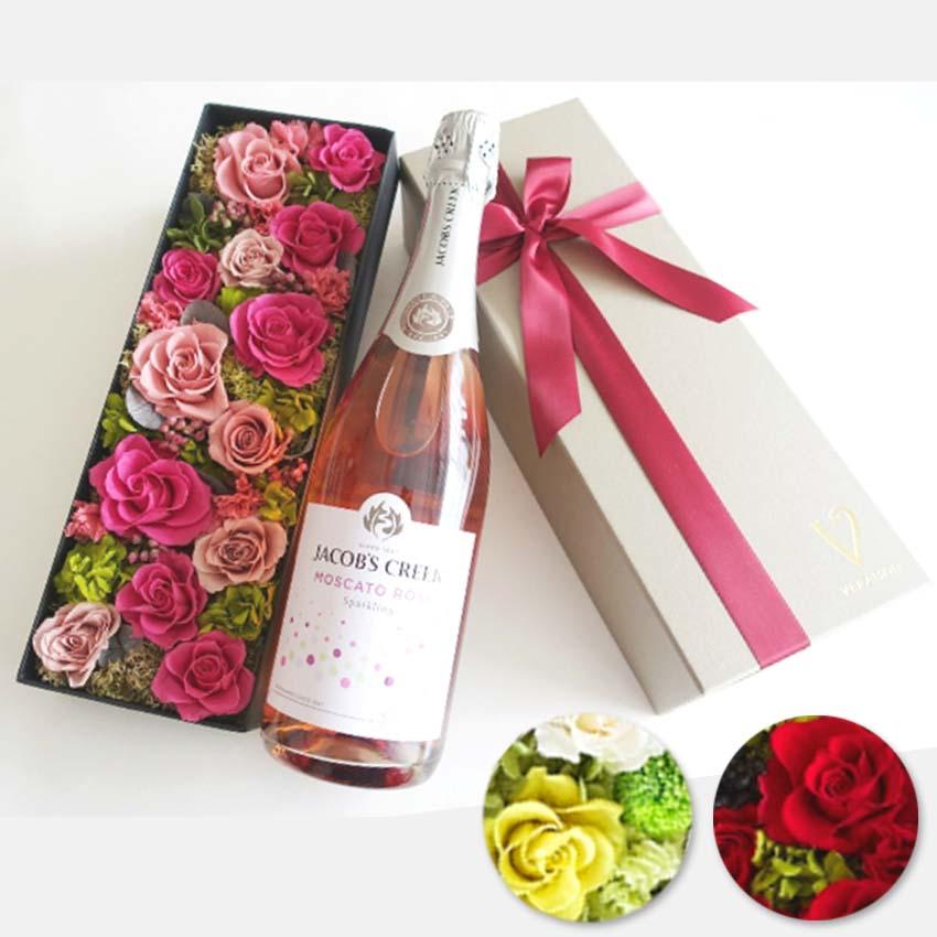 【ワイン セット 花とワイン】ジェイコブス クリーク マスカット・ロゼ スパークリングスパークリングワイン ギフト シャンパン プリザーブドフラワー 「ピンク・グリーン・レッドから選択」ギフト