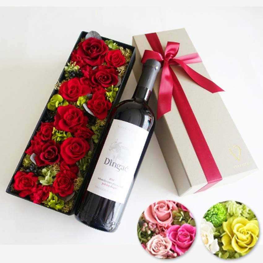 母の日【ワイン セット 花とワイン】ディンガッチ|プラヴァツ マリ 赤ワイン ギフト シャンパン プリザーブドフラワー 「ピンク・グリーン・レッドから選択」ギフト